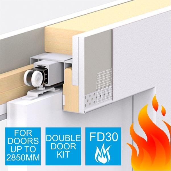 Enigma Concealed Pocket Door - Double Door Kit - Large FD30