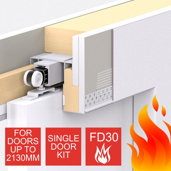 Enigma Concealed Pocket Door - Single Door Kit - Small FD30